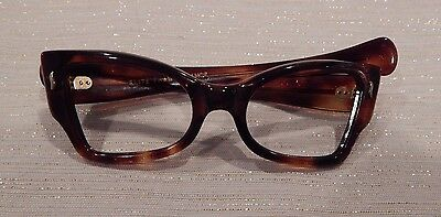 Vintage Frame France Butterfly Style Amber 46/20  Eyeglass Frame New Old Stock
