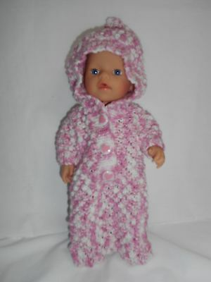 Hand knitted dolls clothes (Winter Sleeping Bag with Hood), fit 33cm doll