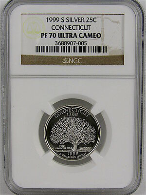 1999-S Silver Proof Connecticut State Quarter Ngc Pf70 Ultra Cameo