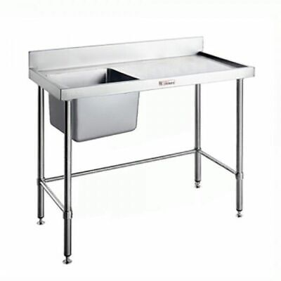 Simply Stainless Single Sink Left Bowl w Leg Brace & Splashback 2100x700x900mm