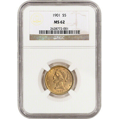 US Gold $5 Liberty Head Half Eagle - NGC MS62 - Random Date