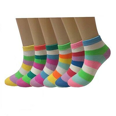Lot 6 -12 Pairs Womens Striped Multi Color Ankle Socks Cotton Size 9-11 Fashion