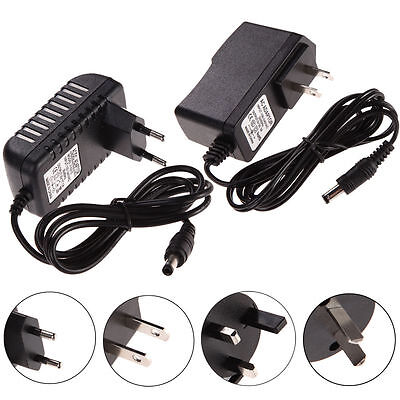 Black US EU AC 100-240V to DC Power Supply Charger Adapter Converter Cord Cable