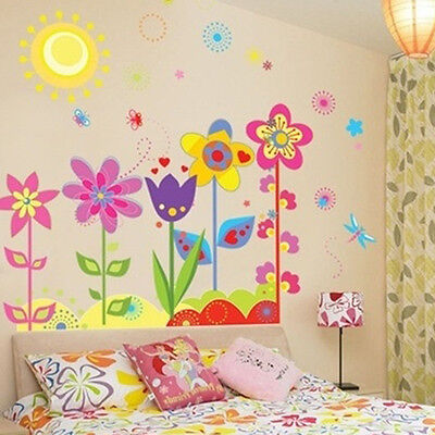 Sunshine And Flower Mural Removable Wall Sticker Art Vinyl Decal Home Room Decor
