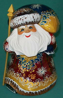 Russian Golden Stooped Hand Painted Santa Claus #5450 - Grandfather Frost Statue