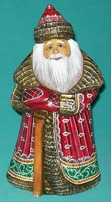 Handpainted Red & Green Old World Slightly Stooped Russian Santa Claus #8700
