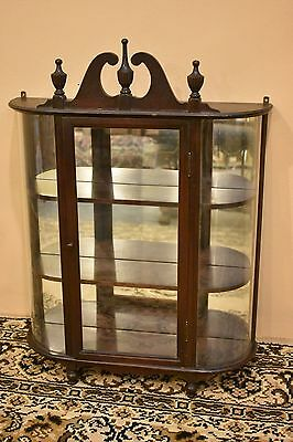 Antique Curved Glass Curio Wall Cabinet