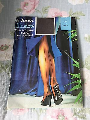 Aristoc Illusion Vintage Seamed Stockings Nylons With Cuban Heel Seal Small