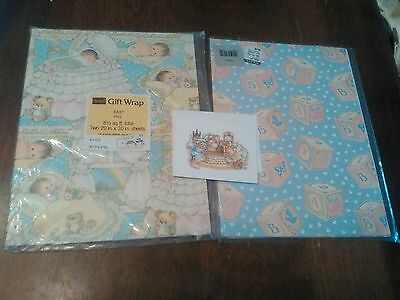 Vintage Gift Wrap Baby Image Sears ABC Blocks Foley's Lot of 2 Collectable