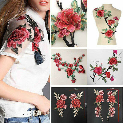 Rose Flower Applique Badge Embroidered Floral Collar Sew Patch Dress Craft pb