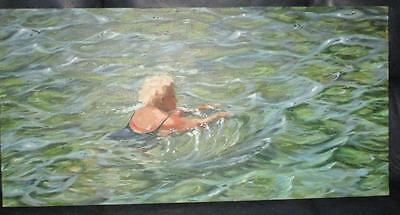 "Original Painting Oil on Canvas by Liz Pasqualini Titled Morning Laps 30"" Exclnt"