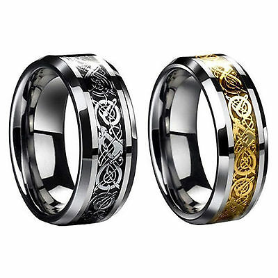Tungsten Carbide Ring Celtic Dragon Stainless mens Jewelry Wedding Band
