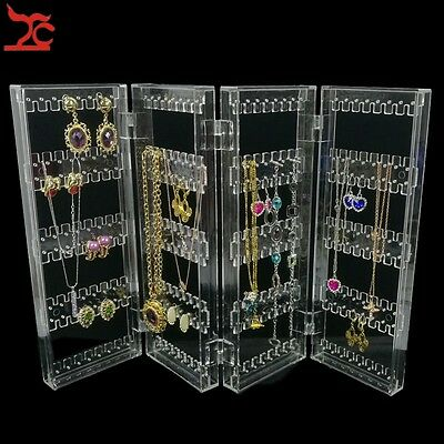 Clear Plastic Jewelry Display 120Pairs Necklace Organizer Shelf Earring Holder