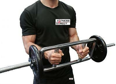Fitness Direct ® Tricep Bicep Bar Set Barbell Cast Iron Weight Lifting Gym
