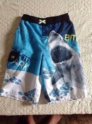 OP Boys Swim Trunks Sz L 10/12 Great White Shark Surf Board Shorts