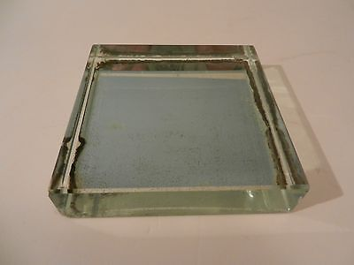 French Modernist Jean Luce Mirrored Glass Paperweight, 1940's