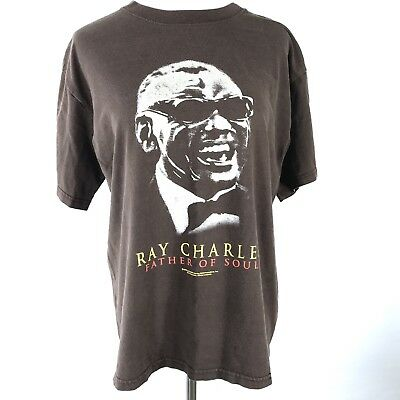 Ray Charles Father of Soul Brown T-Shirt Made in USA M MEDIUM