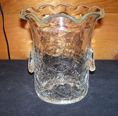 "Vtg. Mid Century Modern Crystal Clear 5 1/2"" Crackle Glass Fluted Rim Vase"