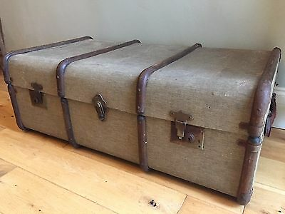 Old Vintage LARGE Banded TRAVEL TRUNK Steamer Chest Table GREEN - GREY 92X53cm