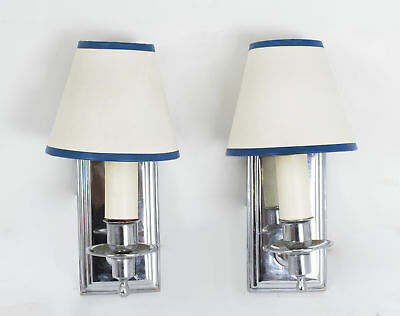 Pair Mid-20th Century Chrome Modernist Wall Lights Sconces French