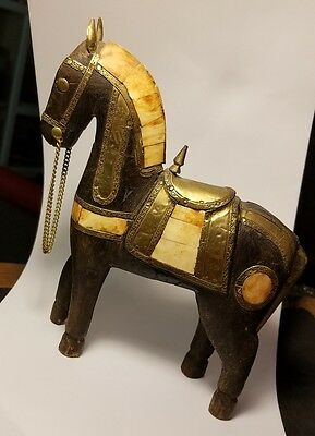 estate vintage carved wood horse with brass-mother of pearl figurine