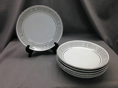 "Set 5 Soup Bowls 7"" Imperial China Whitney Pattern Dalton Gray Band Leaf Scroll"