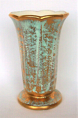 "Stangl Pottery Vase 22K Hand Painted Antique Gold & Aqua #3222, 5-3/4"",1950 RARE"