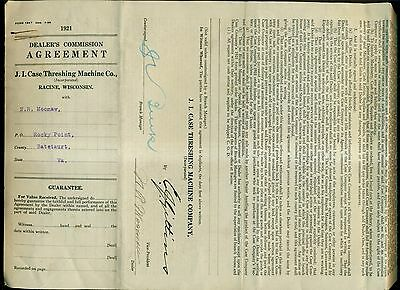 1921 J.I. Case Threshing Machine Co. Dealer's Commission Agreement