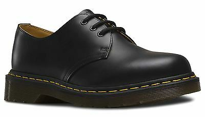 Dr Martens Mens 1461 59 Last Black Smooth Leather Yellow Stitch Classic Shoes