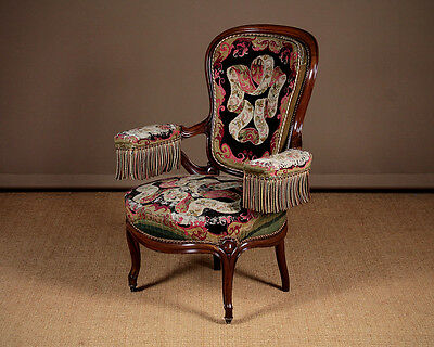 Antique French Open Armchair with Original Covers c.1880.