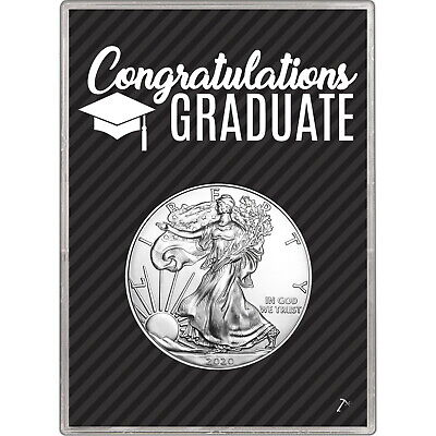 2019 Silver American Eagle BU in Black Graduation Gift Holder