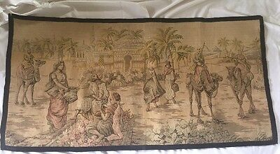 """Antique Arabian  Tapestry Romantic Egyptian Scene Over 100 Years Old 52"""" X  26"""""""