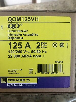 Square D QOM125VH, 125 Amp 2 Pole 240 Volt Circuit Breaker- NEW