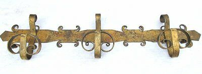 Vintage Antique Wrought Iron Gothic Medieval Scrolly Metal Coat Rack Wall Hook
