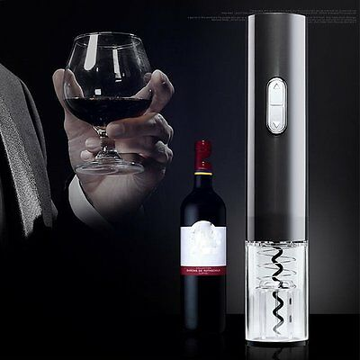 Electric Automatic Wine Bottle Stopper Opener Corkscrew With Foil Cutter Black