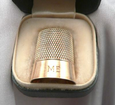 Antique Victorian 14K GOLD SIMONS Bros. SEWING THIMBLE ME Mono B. Altman NY Box