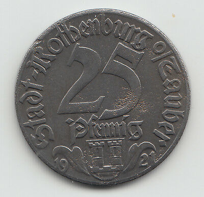 WWI Notgeld coin token Germany Rothenburg iron 25 pfennig 1921 - L439.14