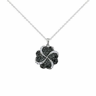 """Sterling Silver 925 0.33ctw Black and White Diamond Pendant with 18"""" Chain NEW"""
