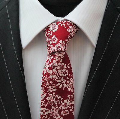 Tie Neck tie Slim Deep Red with White Flower Quality Cotton T6170