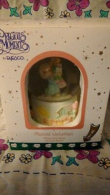 2001 Precious Moments Snow Globe Plays Jingle Bells