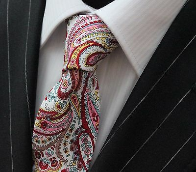 Tie Neck tie Slim White with Paisley Quality Cotton T6158