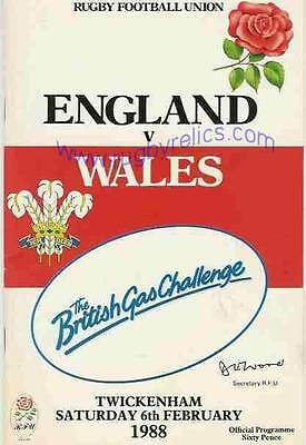 ENGLAND v WALES  1988 RUGBY MEMORABILIA COLLECTION, PROGRAMME & DVD