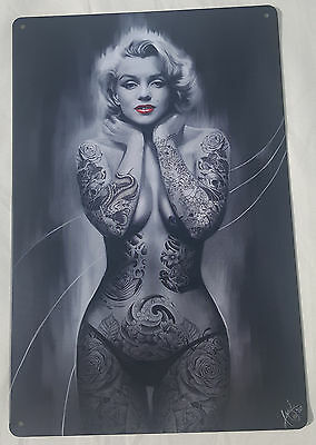 Large Tin Sign Marilyn Monroe Tattoo Art Work Hollywood Model Classic Pin up USA