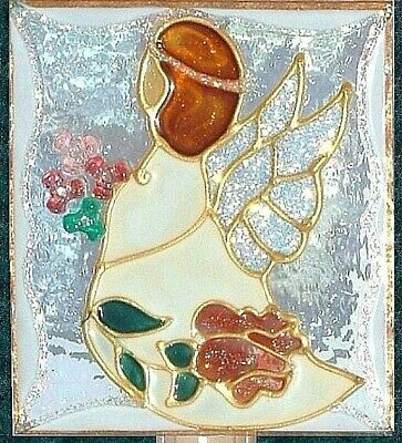 Personalize Guardian Angel Night Light Nursery Stain Glass Wall Plug In Handmade