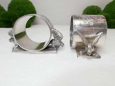 Antique Figural Eagles Napkin Rings Pair By Meriden B Quadruple Silver Plate