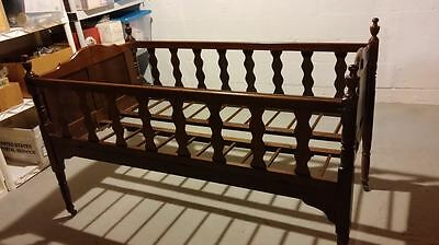 Antique pre-Civil War Wood Folding Baby Bed Crib Approx C1855 Casters