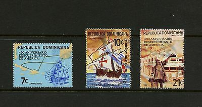 Dominican Republic 1982 #C377-9  Discovery of America maps ships  3v. used  K575