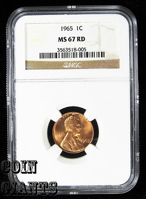 1965 1c Lincoln Memorial Cent NGC MS 67 RD Red BU Uncirculated High Grade Coin