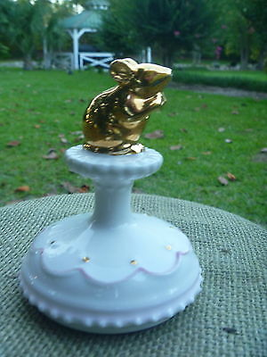 Ivory Pink w Gold Mouse NOT A CREATURE WAS STIRRING Porcelain Cookie Stamp Press