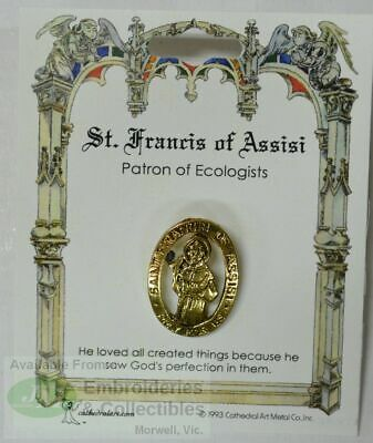 St. Francis of Assisi Patron Saint Lapel Pin, Gold Tone, Patron Of Ecologists